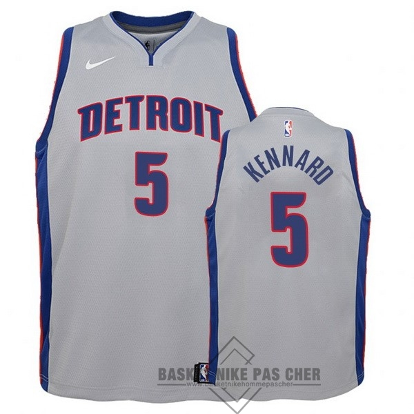 Maillot NBA Pas Cher - Maillot NBA Enfant Detroit Pistons NO.5 Luke Kennard Gris Statement