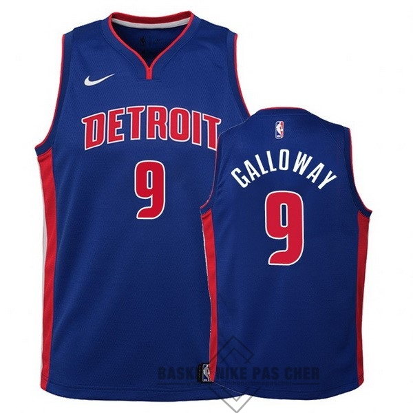 Maillot NBA Pas Cher - Maillot NBA Enfant Detroit Pistons NO.9 Langston Galloway Bleu Icon