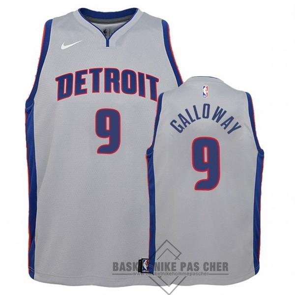 Maillot NBA Pas Cher - Maillot NBA Enfant Detroit Pistons NO.9 Langston Galloway Gris Statement
