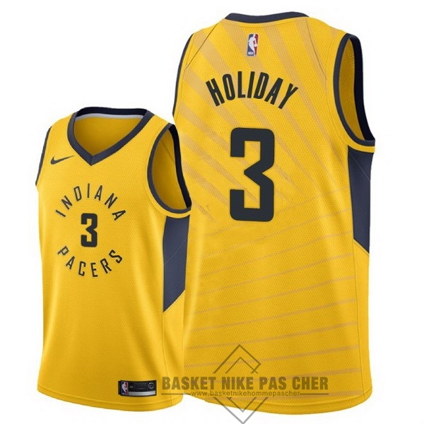 Maillot NBA Pas Cher - Maillot NBA Nike Indiana Pacers NO.3 Aaron Holiday Jaune Statement 2018