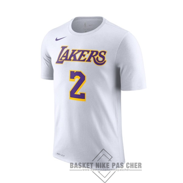 Maillot NBA Pas Cher - Maillot NBA Nike Los Angeles Lakers Manche Courte NO.2 Lonzo Ball Blanc Association 2018-19