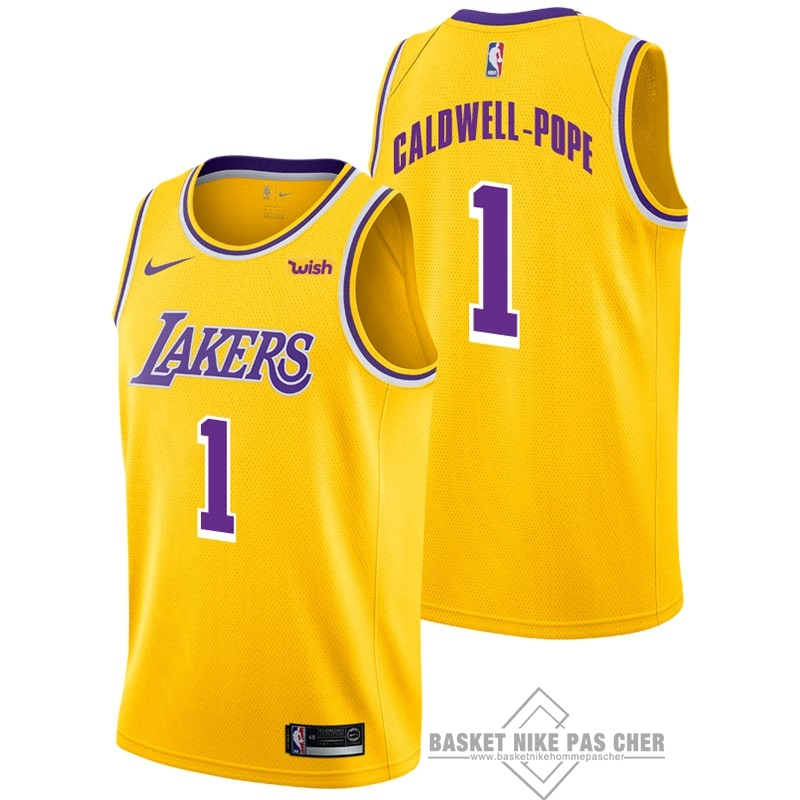 Maillot NBA Pas Cher - Maillot NBA Nike Los Angeles Lakers NO.1 Kentavious Caldwell Pope Jaune 2018-19
