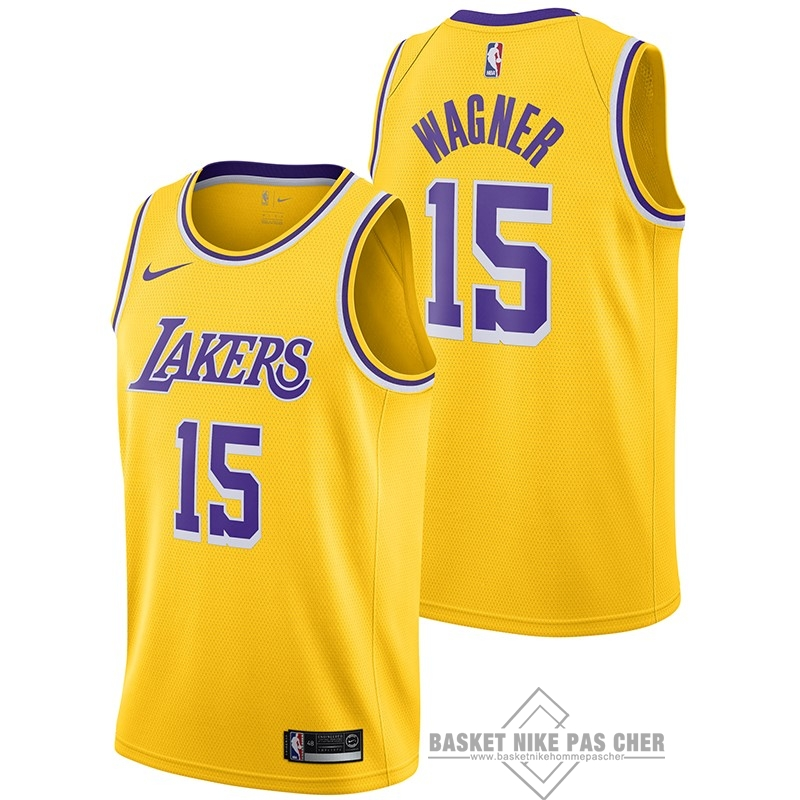 Maillot NBA Pas Cher - Maillot NBA Nike Los Angeles Lakers NO.15 Moritz Wagner Jaune Icon 2018-19