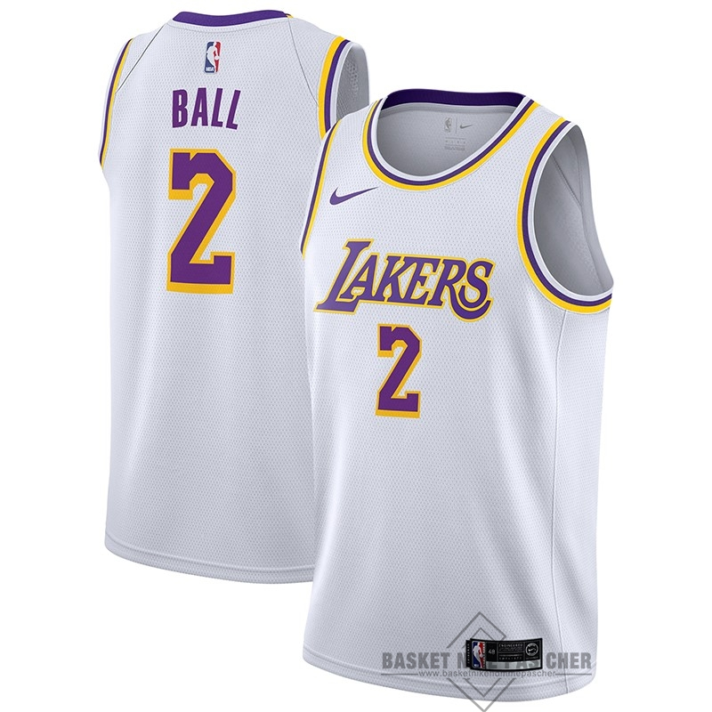 Maillot NBA Pas Cher - Maillot NBA Nike Los Angeles Lakers NO.2 Lonzo Ball Blanc Association 2018-19