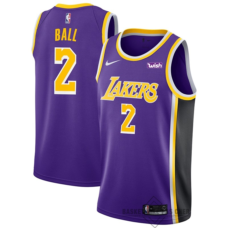 Maillot NBA Pas Cher - Maillot NBA Nike Los Angeles Lakers NO.2 Lonzo Ball Pourpre 2018-19
