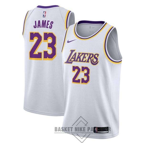 Maillot NBA Pas Cher - Maillot NBA Nike Los Angeles Lakers NO.23 Lebron James Blanc Association 2018-19