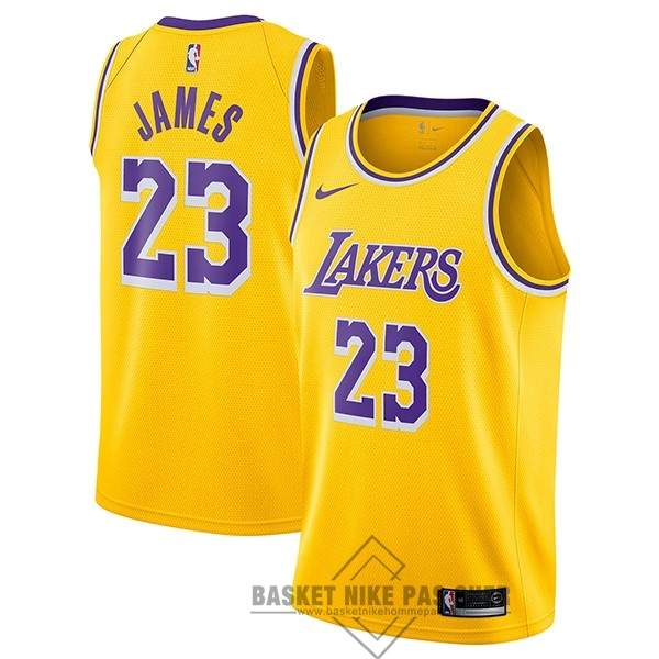Maillot NBA Pas Cher - Maillot NBA Nike Los Angeles Lakers NO.23 Lebron James Jaune Icon 2018-19
