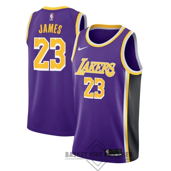 Maillot NBA Pas Cher - Maillot NBA Nike Los Angeles Lakers NO.23 Lebron James Pourpre Statement 2018-19