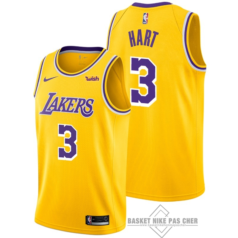 Maillot NBA Pas Cher - Maillot NBA Nike Los Angeles Lakers NO.3 Josh Hart Jaune 2018-19