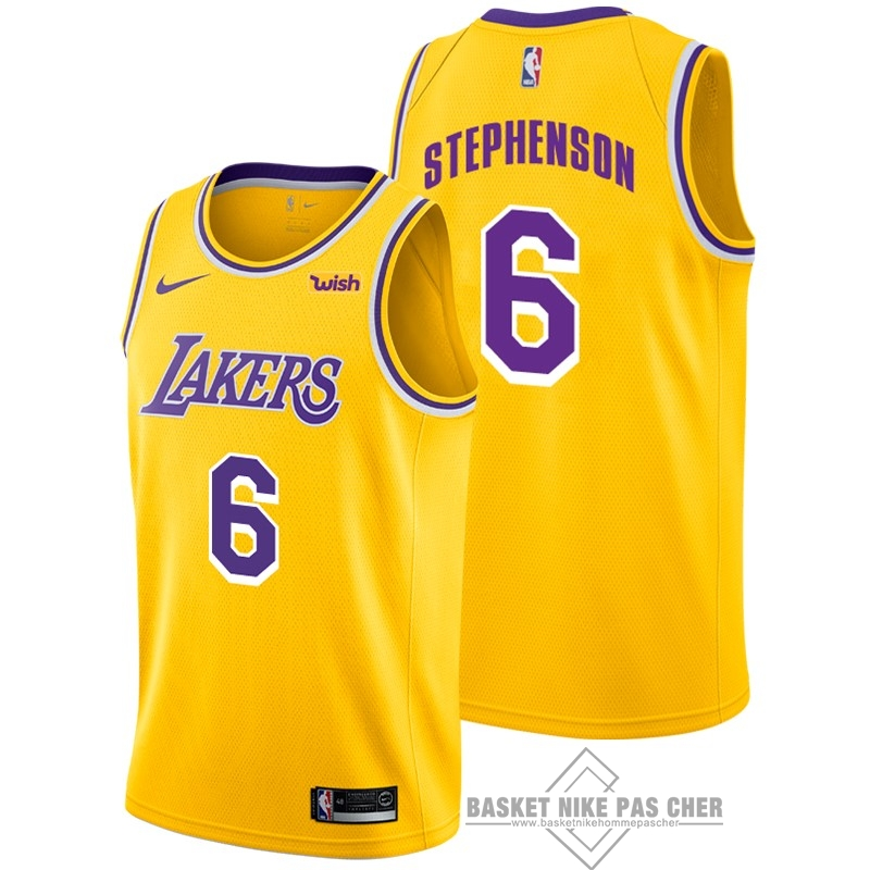 Maillot NBA Pas Cher - Maillot NBA Nike Los Angeles Lakers NO.6 Lance Stephenson Jaune 2018-19