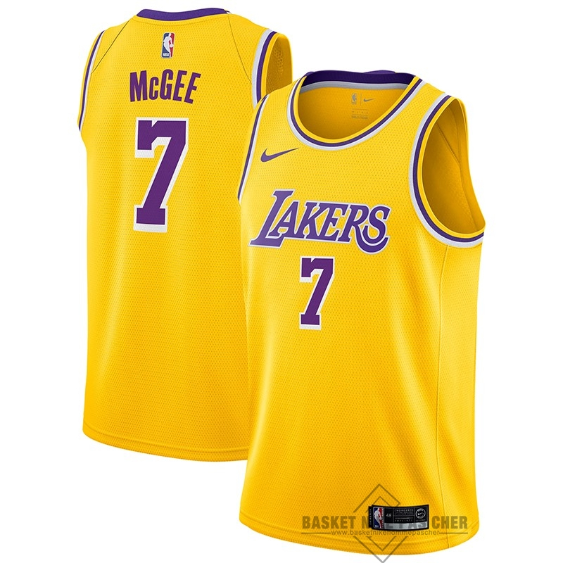 Maillot NBA Pas Cher - Maillot NBA Nike Los Angeles Lakers NO.7 JaVale McGee Jaune Icon 2018-19
