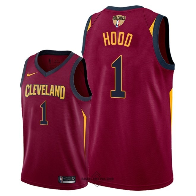 Maillot NBA Pas Cher - Maillot NBA Cleveland Cavaliers 2018 Final Champions NO.1 Rodney Hood Rouge Icon Patch