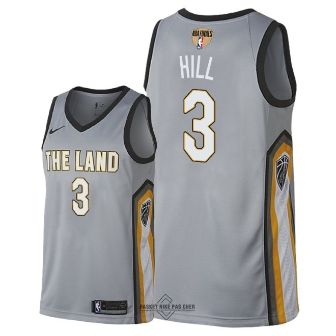 Maillot NBA Pas Cher - Maillot NBA Cleveland Cavaliers 2018 Final Champions NO.3 George Hill Nike Gris Ville Patch