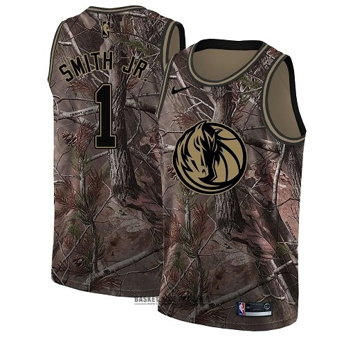 Maillot NBA Pas Cher - Maillot NBA Dallas Mavericks NO.1 Dennis Smith Jr Camo Swingman Collection Realtree 2018