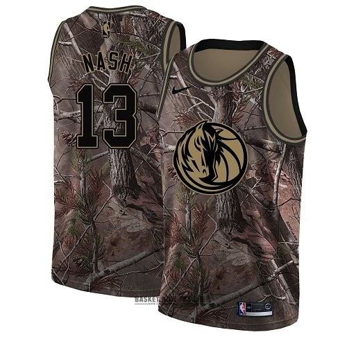 Maillot NBA Pas Cher - Maillot NBA Dallas Mavericks NO.13 Steve Nash Camo Swingman Collection Realtree 2018