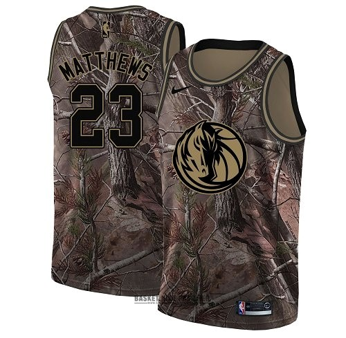 Maillot NBA Pas Cher - Maillot NBA Dallas Mavericks NO.23 Wesley Matthews Camo Swingman Collection Realtree 2018