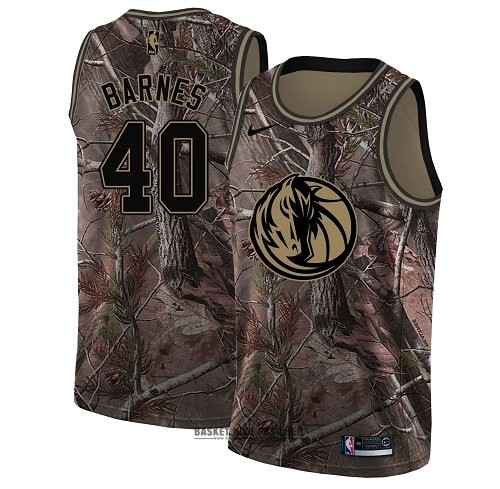 Maillot NBA Pas Cher - Maillot NBA Dallas Mavericks NO.40 Harrison Barnes Camo Swingman Collection Realtree 2018