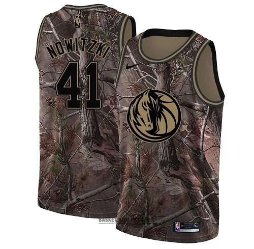 Maillot NBA Pas Cher - Maillot NBA Dallas Mavericks NO.41 Dirk Nowitzki Camo Swingman Collection Realtree 2018