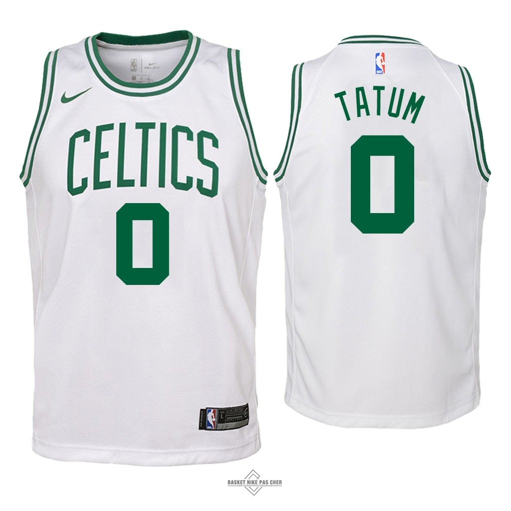 Maillot NBA Pas Cher - Maillot NBA Enfant Boston Celtics NO.0 Jayson Tatum Blanc Association 2018