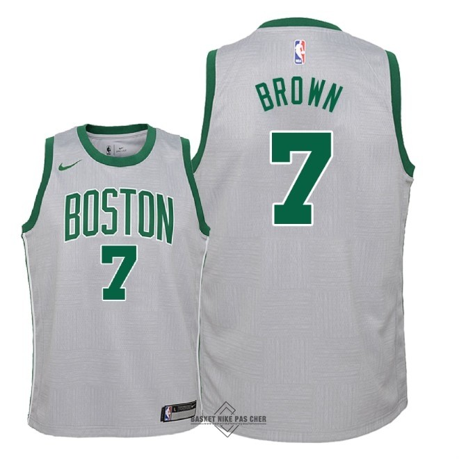 Maillot NBA Pas Cher - Maillot NBA Enfant Boston Celtics NO.7 Jaylen Brown Nike Gris Ville 2018