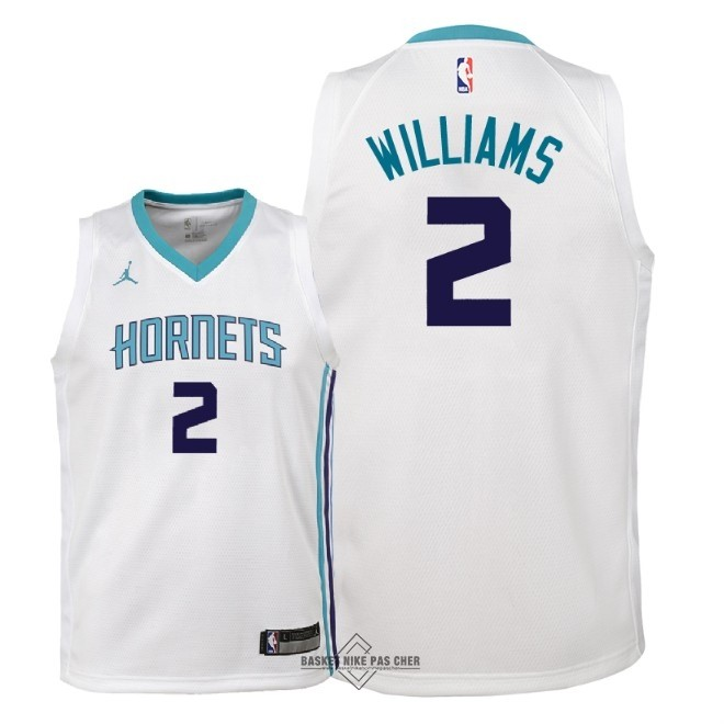 Maillot NBA Pas Cher - Maillot NBA Enfant Charlotte Hornets NO.2 Marvin Williams Blanc Association 2018