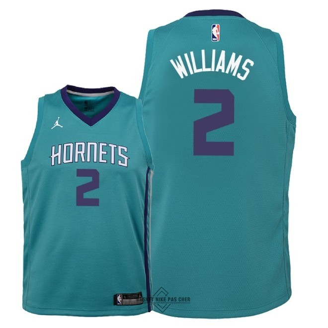 Maillot NBA Pas Cher - Maillot NBA Enfant Charlotte Hornets NO.2 Marvin Williams Vert Icon 2018