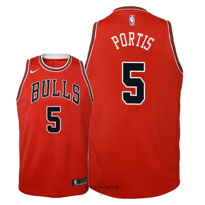 Maillot NBA Pas Cher - Maillot NBA Enfant Chicago Bulls NO.5 Bobby Portis Rouge Icon 2018