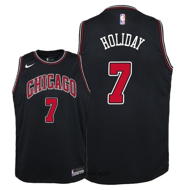 Maillot NBA Pas Cher - Maillot NBA Enfant Chicago Bulls NO.7 Justin Holiday Noir Statement 2018