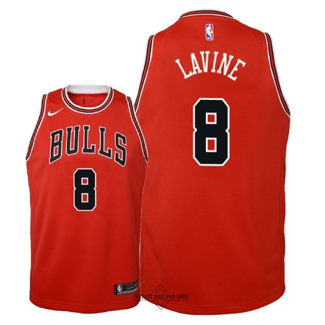 Maillot NBA Pas Cher - Maillot NBA Enfant Chicago Bulls NO.8 Zach Lavine Rouge Icon 2018