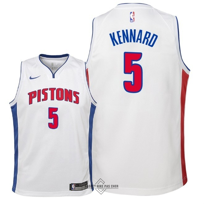 Maillot NBA Pas Cher - Maillot NBA Enfant Detroit Pistons NO.5 Luke Kennard Blanc Association 2018