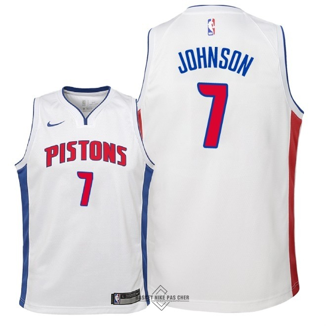 Maillot NBA Pas Cher - Maillot NBA Enfant Detroit Pistons NO.7 Stanley Johnson Blanc Association 2018