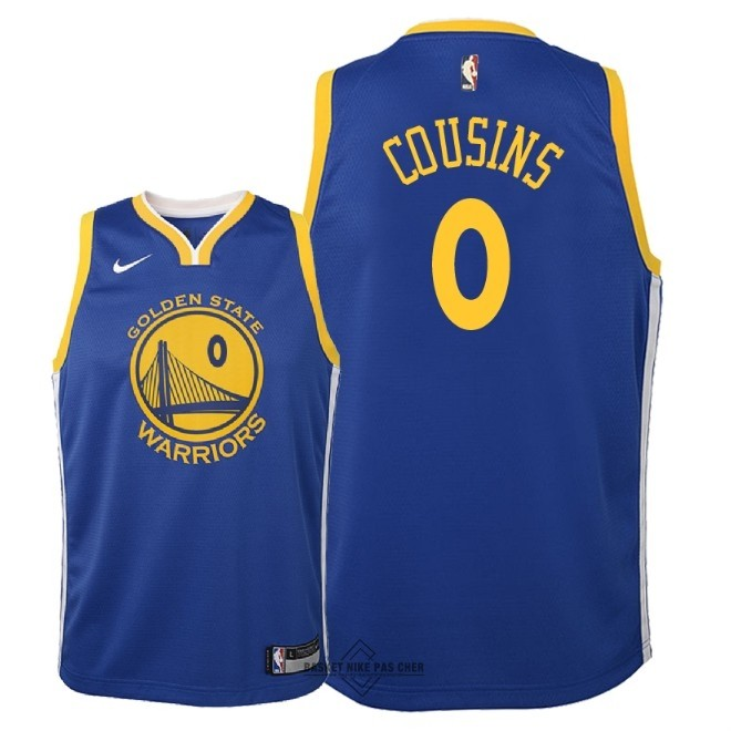 Maillot NBA Pas Cher - Maillot NBA Enfant Golden State Warriors NO.0 DeMarcus Cousins Bleu Icon 2018