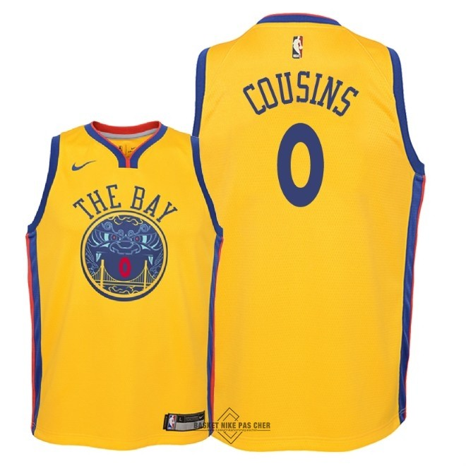 Maillot NBA Pas Cher - Maillot NBA Enfant Golden State Warriors NO.0 DeMarcus Cousins Nike Jaune Ville 2018