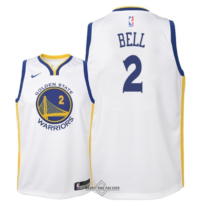 Maillot NBA Pas Cher - Maillot NBA Enfant Golden State Warriors NO.2 Jordan Bell Blanc Association 2018