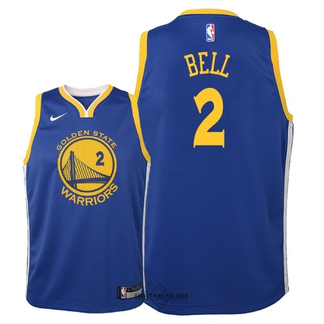 Maillot NBA Pas Cher - Maillot NBA Enfant Golden State Warriors NO.2 Jordan Bell Bleu Icon 2018