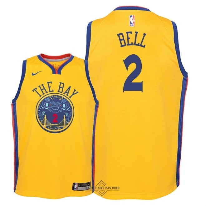 Maillot NBA Pas Cher - Maillot NBA Enfant Golden State Warriors NO.2 Jordan Bell Nike Jaune Ville 2018