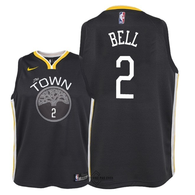 Maillot NBA Pas Cher - Maillot NBA Enfant Golden State Warriors NO.2 Jordan Bell Noir Statement 2018