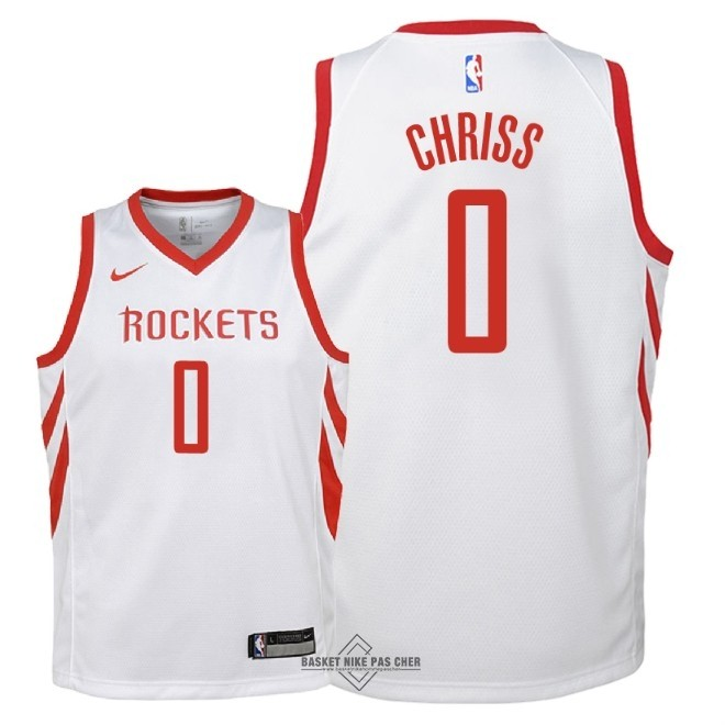 Maillot NBA Pas Cher - Maillot NBA Enfant Houston Rockets NO.0 Marquese Chriss Blanc Association 2018