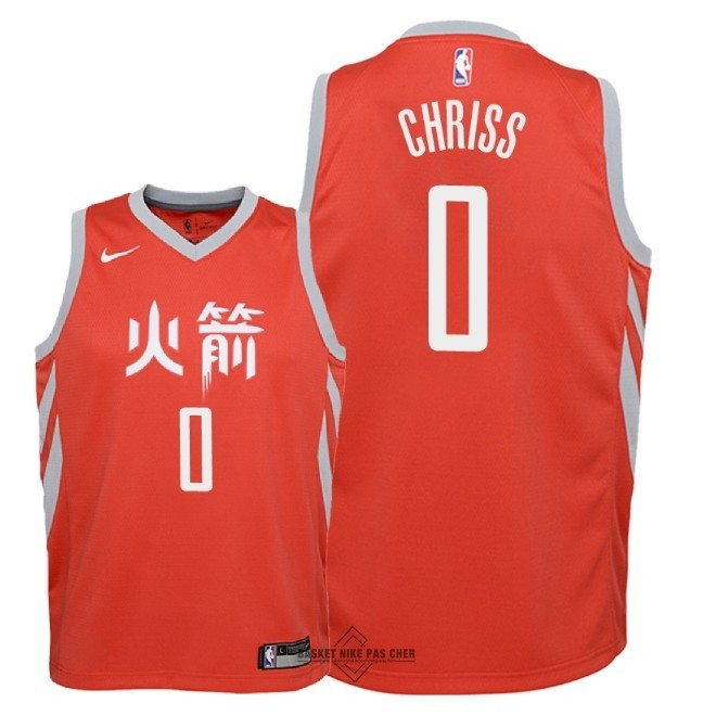 Maillot NBA Pas Cher - Maillot NBA Enfant Houston Rockets NO.0 Marquese Chriss Nike Rouge Ville 2018