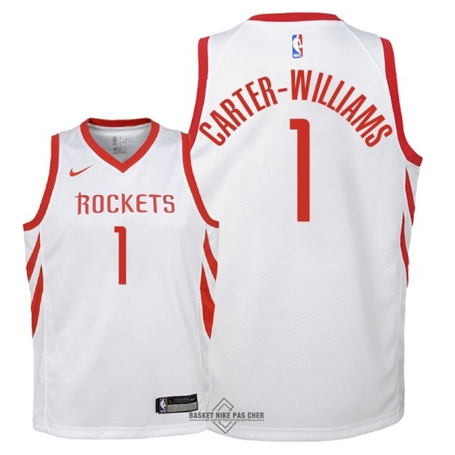 Maillot NBA Pas Cher - Maillot NBA Enfant Houston Rockets NO.1 Michael Carter Williams Blanc Association 2018