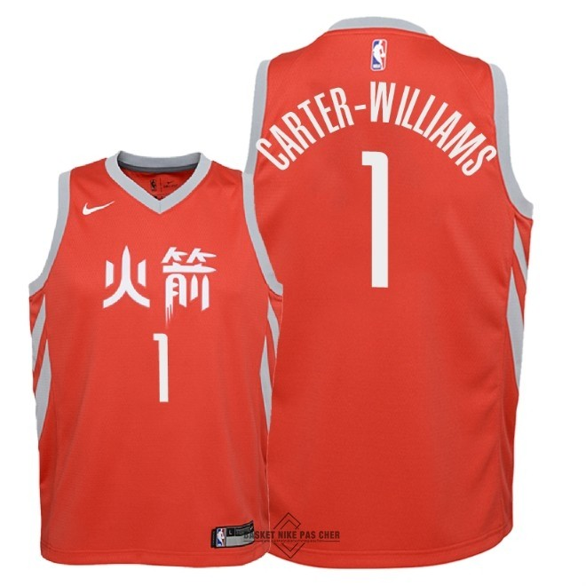 Maillot NBA Pas Cher - Maillot NBA Enfant Houston Rockets NO.1 Michael Carter Williams Nike Rouge Ville 2018