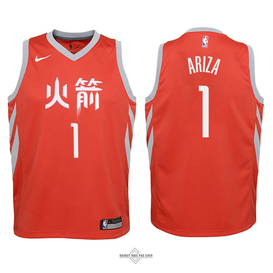 Maillot NBA Pas Cher - Maillot NBA Enfant Houston Rockets NO.1 Trevor Ariza Nike Rouge Ville 2018