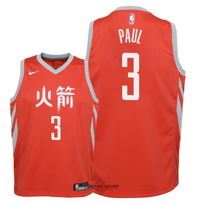Maillot NBA Pas Cher - Maillot NBA Enfant Houston Rockets NO.3 Chris Paul Nike Rouge Ville 2018-19