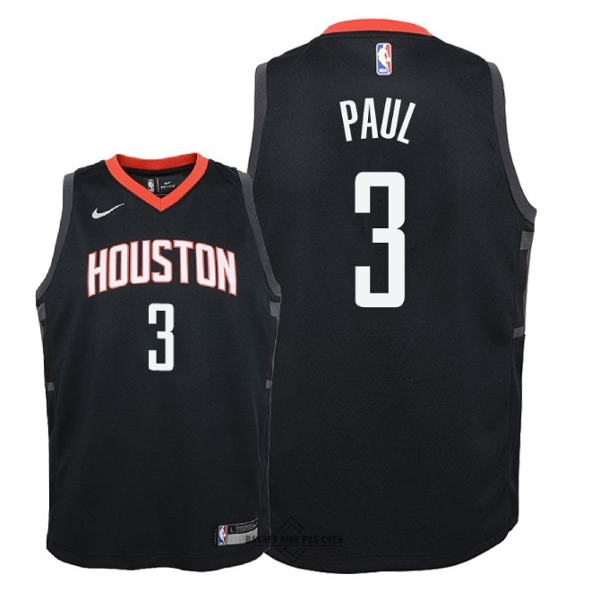 Maillot NBA Pas Cher - Maillot NBA Enfant Houston Rockets NO.3 Chris Paul Noir Statement 2018-19