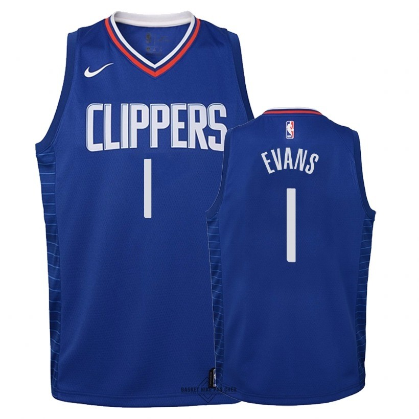 Maillot NBA Pas Cher - Maillot NBA Enfant Los Angeles Clippers NO.1 Jawun Evans Bleu Icon 2018