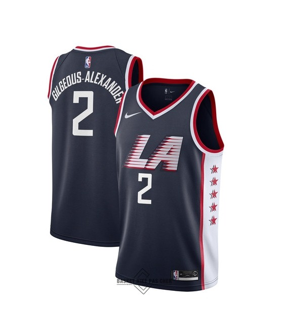 Maillot NBA Pas Cher - Maillot NBA Enfant Los Angeles Clippers NO.2 Shai Gilgeous Alexander Nike Marine Ville 2018-19