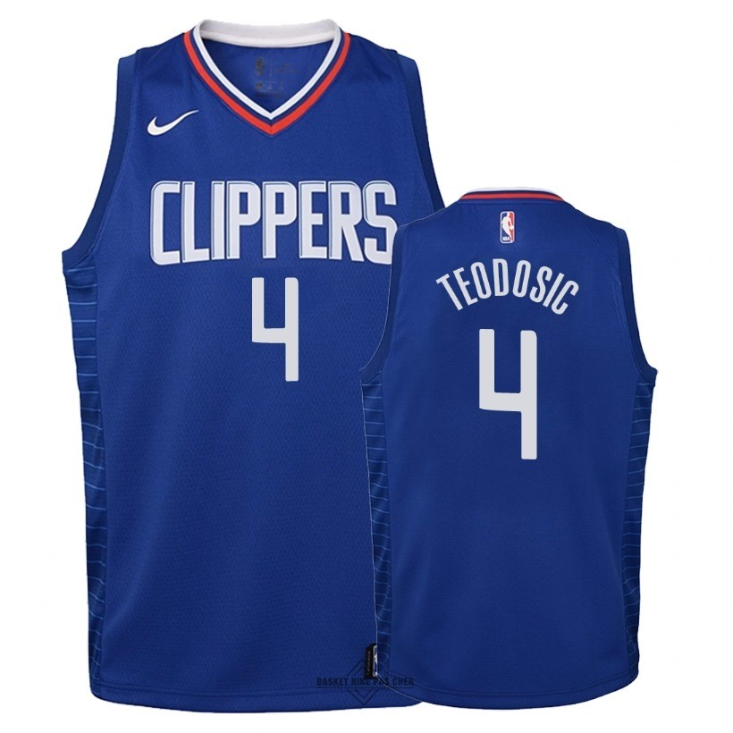 Maillot NBA Pas Cher - Maillot NBA Enfant Los Angeles Clippers NO.4 Milos Teodisic Bleu Icon 2018