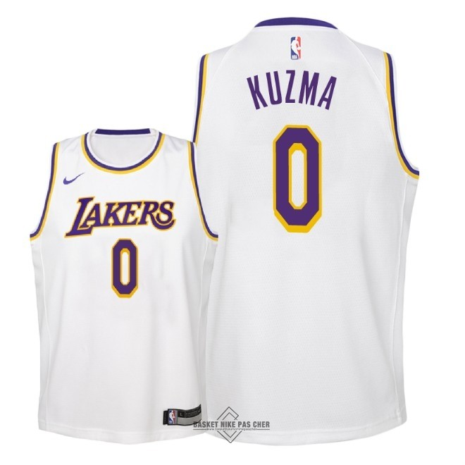 Maillot NBA Pas Cher - Maillot NBA Enfant Los Angeles Lakers NO.0 Kyle Kuzma Blanc Association 2018-19