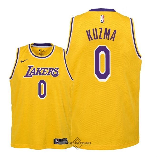 Maillot NBA Pas Cher - Maillot NBA Enfant Los Angeles Lakers NO.0 Kyle Kuzma Jaune Icon 2018-19