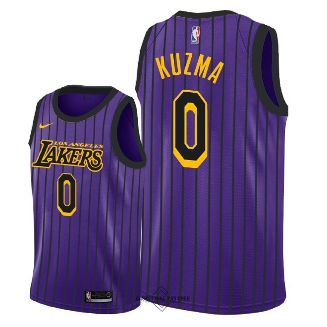Maillot NBA Pas Cher - Maillot NBA Enfant Los Angeles Lakers NO.0 Kyle Kuzma Nike Pourpre Ville 2018-19